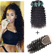 """Peony Hair 7A Grade Brazilian Deep Wave 3 Bundles with Closure Uprocessed Virgin hair with 4""""4"""" lace closure free part"""