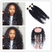 Tony Beauty Hair Deep Curly 360 Band Lace Frontal Closure With 3 Bundles Brazilian Human Hair Weaves Extensions With Full Frontal 360 Band Closure 4Pcs Lot
