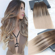 HairDancing 60cm 100g 40Pcs Tape in Hair Extensions Ombre PU Skin Hair Weft Human Hair Remy Extensions Hair Dye Colour #4 Chocolates Brown Fading to #18 Dark Ash Blonde Ombre Human Hair