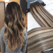 HairDancing 41cm 100g 40Pcs Seamless Tape in Balayage Ombre Hair Extensions Glue in Hair Extensions Ombre Colour #2 to #3 to #27 Honey Blonde Full Head Premium PU Skin Hair Weft
