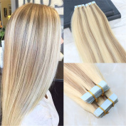 HairDancing 46cm 100g 40Pcs Ombre Piano Hair Colour #14 Dark Golden Blonde to #613 Bleach Blonde Tape In Skin Weft Remy Human Hair Extensions Ombre Hair 100% Real Human PU Hair