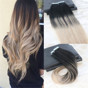 HairDancing 36cm 100g 40Pcs Full Head Remy Tape In Real Hair Extentions Remy Glue Human Hair Balayage Ombre Colour PU Hair Extensions Colour #1B Fading to #18 Dark Ash Blonde to #60 Platinum Blonde