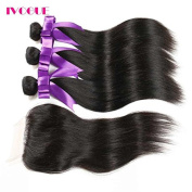 Ivogue Hair Brazilian Virgin Hair with Closure Human Hair Weaves 3 Bundles with 4X4 Lace Closure Full Head