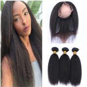 Tony Beauty Hair Mongolian Kinky Straight Human Hair Weaves With 360 Lace Frontal Pre Plucked Italian Coarse Yaki 360 Band Lace Closure With 3 Bundles Extensions 4Pcs Lot