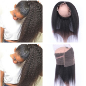 Tony Beauty Hair Kinky Straight 360 Band Lace Frontal Closure With Natural Hairline Italian Coarse Yaki Mongolian Human Hair Full Frontals 22.5x 4x 2 Pre Plucked 360 Lace Band Closure 20cm - 60cm