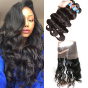 Donmily 3 Bundles Brazilian Body Wave Hair Extensions with 360 Lace Frontal Closure 7A Brazilian Human Hair Weave Natural Colour