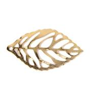 ULTNICE 100pcs DIY Tree Leaf Crafts Alloy Pierced Tree Leaf for DIY Crafts Golden