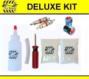 E-Z Tyre Beads Deluxe Motorcycle Kit, Ceramic Dynamic Balancing 60ml Front + 60ml Rear (4 Total), Applicator Kit, Chrome Caps, Valve Cores