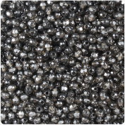 BEADTIN Jet Black Transparent 4mm Faceted Round Craft Beads
