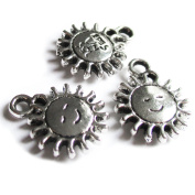 Heather's 56 Pieces Silver Tone Sun face Beads DIY Charms Pendants 15mmX12mm