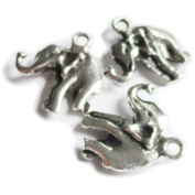 Heather's 42 Pieces Silver Tone Elephant Beads DIY Charms Pendants 18mmX17mm