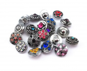 Honbay 20pcs 12mm Assorted Rhinestone Snaps Chunk Press Buttons for Snap Ginger Jewellery Making