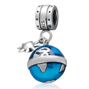Around the World Ocean Blue Earth Globe Charm Dangle 925 Sterling Silver Travel Pendnat Bead for European Bracelet or Necklace