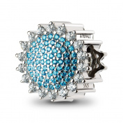 ATHENAIE 925 Silver Plated Platinum with Pave Blue CZ Sunflower Charm Fit All European Bracelets Necklace