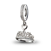 ATHENAIE 925 Silver Plated Platinum with Pave Clear CZ Hearts Tiara Pendant Drops Fit All European Bracelets Necklace