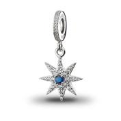 ATHENAIE 925 Silver Plated Platinum with Pave Clear CZ Sparkling Firework Pendant Drops Fit All European Bracelets Necklace