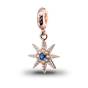 ATHENAIE 925 Silver Plated Rose Gold with Pave Clear CZ Sparkling Firework Pendant Drops Fit All European Bracelets Necklace