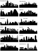 Cityscapes City Skyline Black 17CC769 Fused Glass Decals