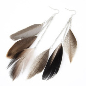 Leiothrix Nutural Feather Alloy Earrings in Grey for Women and Girls Apply to Wedding Party Casual