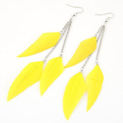 Leiothrix Nutural Feather Alloy Earrings in Yellow for Women and Girls Apply to Wedding Party Casual