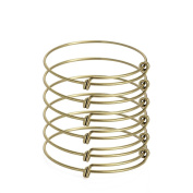 ZX Jewellery 6pcs Childrens Expandable Blank Bangle Adjustable Wire Bracelet for Jewellery Making 5.1cm