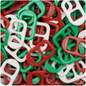 BEADTIN Christmas Mix Opaque 25mm Plastic Soda Pop Tabs