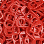 BEADTIN Red Opaque 25mm Plastic Soda Pop Tabs