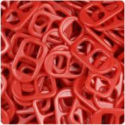 BEADTIN Red Opaque 25mm Plastic Soda Pop Tabs