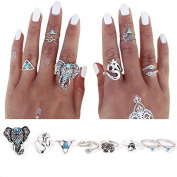 J.C Arts 8PCS/Set Antique Silver Plated Vintage Bohemian Turkish Midi Ring Set Steampunk Snake Turquoise Ring Knuckle Rings For Women Jewellery