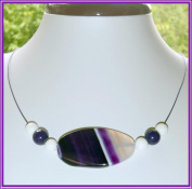Imagine If…Necklace Kit, Purple Agate, Jade Beads, DIY, Necklace, Easy to make, No Tools Required, Tiger Tail Necklace and Instructions Included 06
