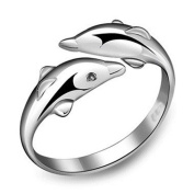 Hot Simple Style Cute Animal Double Dolphin Ring Open-end Women Fashion Jewellery