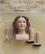 JUST For KEEPS Craft 1 SET of PORCELAIN DOLL HEAD 5.1cm - 1.9cm (Moulded BROWN Hair) w PAIR of HANDS Each 2.5cm - 1.9cm and PAIR of LEGS (Black Shoes) Each 2.5cm - 2.2cm Long