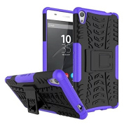 Sony Xperia XA Ultra Case,ARSUE [Premium Rugged] Heavy Duty Armour [Shock Resistant] Dual Layer with Kickstand Case for Sony Xperia C6 / XA Ultra / C6 Ultra Smartphone - Purple