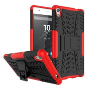 Sony Xperia XA Ultra Case,ARSUE [Premium Rugged] Heavy Duty Armour [Shock Resistant] Dual Layer with Kickstand Case for Sony Xperia C6 / XA Ultra / C6 Ultra Smartphone - Red