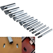12Pcs Oval Shape Leather Craft Hole Punch Set Punch Belt Watch Band for Leather Working Oblong Shape Punch