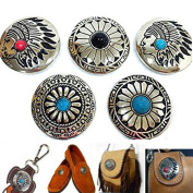 5Pcs DIY Concho Button,Retro Bling Turquoise Beads Leathercraft Vintage Button Bohemian Style Mohican Head Indian Head Pattern Decorative Buttons