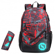 SellerFun Boy 20L Fashion School Bag Backpack with Florescent Mark 3 Sets/2 Sets