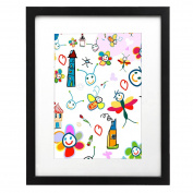 Kids Artwork Frame - 28cm x 36cm Black Picture Frame - Made to Display Pictures 8x 10 with Mat or 11x 14 Without Mat - Plexiglas Front for Additional Protection