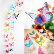 ElecMotive 36 Pcs 3D Colour Crystal Butterfly Wall Stickers with Adhesive Art Decal Satin Paper Butterflies Home DIY Decor Removable Wall Decor