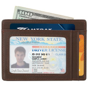 Kinzd Slim Leather RFID Blocking Front Pocket Wallet Credit Card Holder