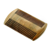 Hawatour Double Different Densities Green Sandalwood Beard Comb Handmade Pocket Size Wood Hair Comb
