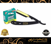 BLACK & GOLD COMBINATION Stainless Steel Barber Straight Edge Razor with Hi-Chromium Derby 100 Count Blades - Made of Platinum Stainless Steel - With Easy Blades Replacement Mechanism - Macs-045B1