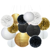 Sorive Set of 14ps Mixed Gold Black White Party Decor Kit Paper lantern Paper Honeycomb Balls Tissue Pom poms Flower Themed Party Hanging Decoration Favour for Birthday,Wedding, Christening