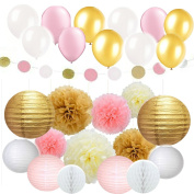 Since 30 Pcs Tissue Paper Pom Poms Flowers Tissue Tassel Garland Polka Dot Paper Garland Kit with Balloons for Wedding Party Decorations
