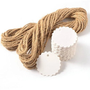 E-Goal 6cm Round Shaped White Paper Tags With 20M Twine String for DIY Use