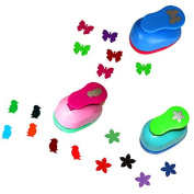 CADY 2.5cm paper punch,,Pack of 3,butterfly,penguin,flower,Easy to Use for CADY Scrapbook,Greeting Crads or Handmake Projects