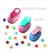 CADY Hole Puncher 2.5cm paper punch,-- (3 PACK Combination of flowers -- Personalised Paper Craft Punchers Shapes Set -- For Scrapbook Engraving Kids Artwork -- Greeting Card Making DIY Crafts