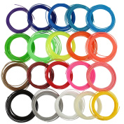 3D Pen Filament Refills PLA 1.75mm, 20 Colours (Includes 6 Glow in the Dark), 7.6m Each