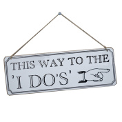 ULTNICE This Way to The I Do Sign Wooden Hanging Decoration for Weddings