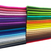 flic-flac 42pcs 8 x 8 inches (20cmx20cm) 1.4mm Thick Soft Felt Fabric Sheet Assorted Colour Felt Pack DIY Craft Sewing Squares Nonwoven Patchwork